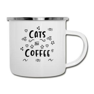 Emaille-Tasse für Katzen und Kaffee Liebhaber(-innen)